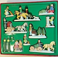 Vintage Christmas 12 Piece Dickens Village Porcelain Horses Sleighs Trees NEW
