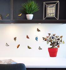 Aufkleber Sticker Fensteraufkleber Wandaufkleber Bäume Schmetterlinge Baum Küche