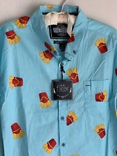 NWT XL Fast Food French Fries Five Points NYC Blue Button Shirt Junk Foodie Fry