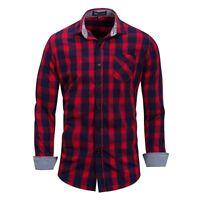 New Mens Casual Long Sleeves Formal Denim Cotton Plaids Checks Shirts HC6457