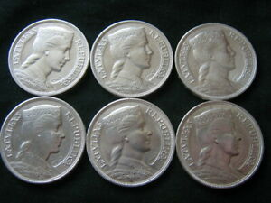 LATVIA 5 LATI - SIX BEAUTIFUL SILVER COINS .835 FINE 150 GRAMS - ALL 1931