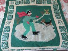 "Rare Vintage Handmade Afghan Skater With Beagle 40"" x 51"""