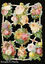 German Embossed Scrap Die Cut - Bright Colorful Roses / Flowers WOW   EF7434