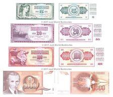 JUGOSLAVIA ANNI 1960 anni'70 anni'80 e ANNI'90 Set di 4 BANCONOTE 4 PZ UNC