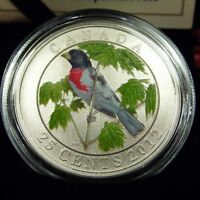 2012 Canada Colorized Rose-Breasted Grosbeak Coin