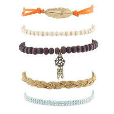 Lux Accessories Gold Tone Boho Dream Catcher Feather Beaded Strand Arm Candy 5PC