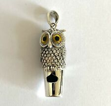 Victorian Style Owl with Glass Eyes Whistle Pendant Silver 925