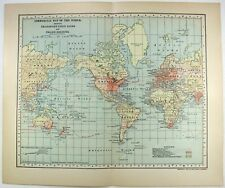 Original 1903 Commercial Map of The World Showing Transportation Lines by Dodd