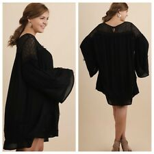 WOMENS PLUS DRESS 2X UMGEE NEW BLACK TUNIC XXL 18 20 LACE NWT CUTE SPRING DEAL