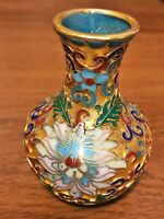 Chinese Cloisonne Vintage Copper Enameled Miniature Vase