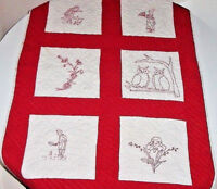 REDWORK CRIB QUILT 1880 TABLE COVER FARM HOUSE PRIMITIVE AUTHENTIC 1930s