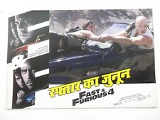 FAST AND FURIOUS 4 PAUL WALKER 2009 7pc HINDI+ENGLISH LOBBY CARD INDIA 17.5x12
