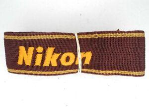 Nikon Genuine AN-6W Maroon / Yellow Camera Neck Strap w/ Engraved Metal Buckles