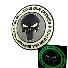GOD WILL JUDGE OUR ENEMIES punisher PVC DEVGRU glow dark ACU tag hook patch