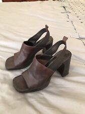 Vintage Enzo Angiolini Block Heel Brown Leather Sandal, size 7.5 - beautiful!