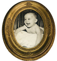 "Oval Gilded Picture Frame Antique W/ Baby Portrait Under Glass 10 1/2"" x 12 1/2"""