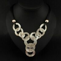 Jewelry Crystal Bib Choker Chain Pendant Chunky Statement Necklace Women Luxury