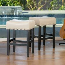 Bar Stools Ivory Leather Counter Stool Kitchen Chairs Curved Backless Seat Studs
