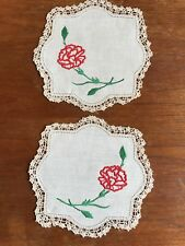 Vintage Hand Embroidered Linen Duchess Doily Set...Dressing dining Table Crochet