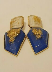 Statement Long Big Large Chunky Gold Blue Crystal Stone Drop Dangle Stud Earring