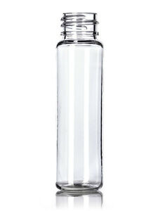 1 oz (30 ml) Clear Plastic Cylinder Round (SLIM) Bottles w/Caps (Lot of 25)