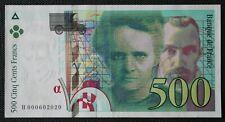 France - Francia - Billet de 500 Francs Pierre et Marie Curie 1994 SUP / XF