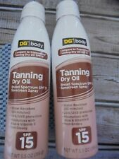 2 Tanning Dry Oil Clear Spray Sunscreen SPF 15 5.5 OZ each NEW