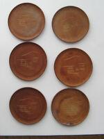 """Vintage Set 6 Wood Oriental Asian Scene Coasters 2.75"""" Diameter Used - As Is"""