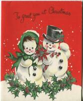 VINTAGE CHRISTMAS SNOWMAN SNOW GIRL HOLLY BERRIES SILVER MCM ART GREETING CARD