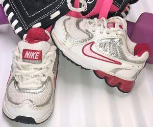 NIKE Shox Qualify Toddler Girls Size 4C White/Silver/Pink 398427-103