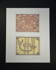 """Keith Haring, """"Untitled"""" (Two images with yellow and red colors). Hand Signed."""
