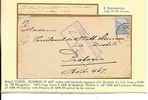 BOER WAR CENSORED COVER FROM  POW ON SS MONGOLIAN De WITT HAMER CORRESPONDENCE.