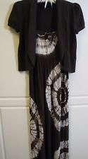 INC INTERNATIONAL CONCEPTS BROWN TIE DYE MAXI DRESS & SWEATER SIZE XS NWT