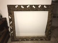 Antique Wood Picture Frame Ornate Fine Art Gesso Large 37x33 Gold
