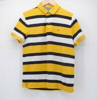 Tommy Hilfiger Mens Medium Polo Shirt yellow navy white stripe performance pique