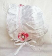 NEW WHITE SATIN LACE BONNET HAT SUNHAT w/ ROSE 0 3 6 MONTHS GIRLS BABY INFANT