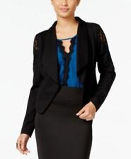 Thalia Sodi Women's Open Front Lace Shoulder Blazer Jacket Black M