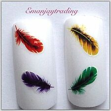 Nail Art Water Decals/ Transfers #119 Coloured Feathers