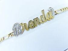 PERSONALIZED 14K GOLD GP FIGARO  NAME PLATE BRACELET U
