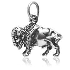 Bison Charm Sterling Silver .925 Buffalo Animal Wildlife