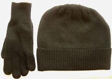 Dark Gray 100% Pure cashmere Hat and Glove gift set Ski beanie Winter Cap skull
