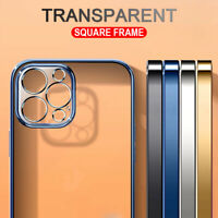 Plating Bumper Case For iPhone 12 Pro Max 11 X XR XS 7 8 Square Soft Clear Cover