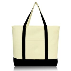 """DALIX 22"""" Large Cotton Canvas Zippered Shopping Tote Grocery Bag Black Red Blue"""
