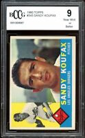 1960 Topps #343 Sandy Koufax Card BGS BCCG 9 Near Mint+