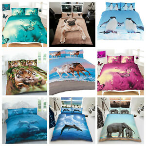 Duvet Cover Set 3D Animal Print Effect Quilt Bedding Set New