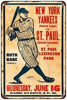 1926 New York Yankees and Babe Ruth Vs. St. Paul Baseball Metal Sign 8 X 12 Inch