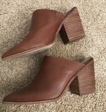 Steve Madden Womens Savina Leather Pointed Toe Mules, Brown Leather, Size 10.0