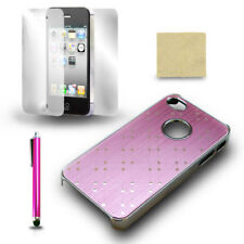 For iPhone 4 4S Pink Chrome Protective Case Cover + Screen Film + Stylus Pen