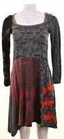 DESIGUAL Womens Asymmetrical Hem Dress Size 12 Medium Multicoloured Cotton  GE06