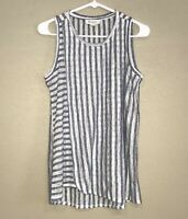 Two by Vince Camuto Blue White Striped Semi-Sheer Sleeveless Top Size Small